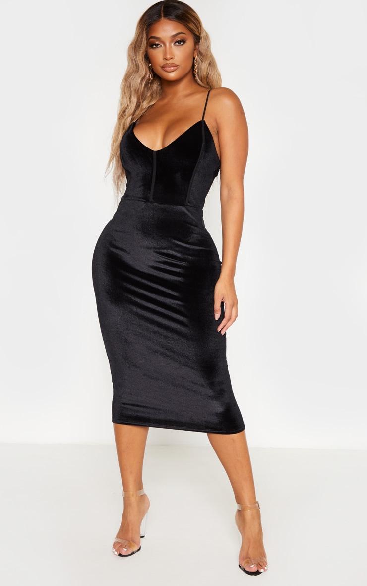 Shape Black Velvet Binding Detail Midi Dress 1