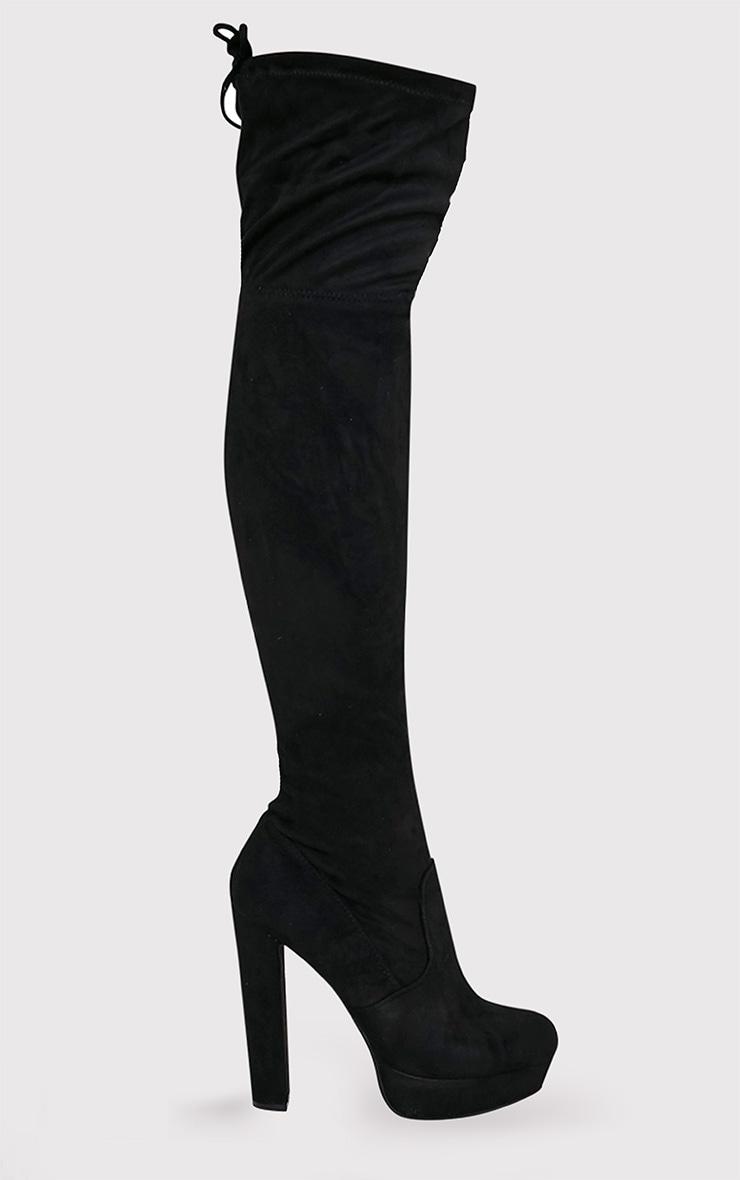 Elisabeth bottes cuissardes noires plateformes imitation daim 2