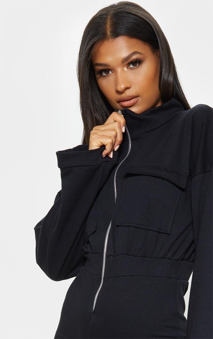Black Zip Front Long Sleeve Sweat Unitard 5