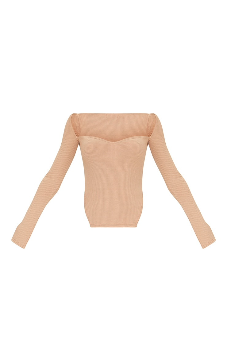 Stone Rib Sweetheart Neck Dip Hem Long Sleeve Top 5