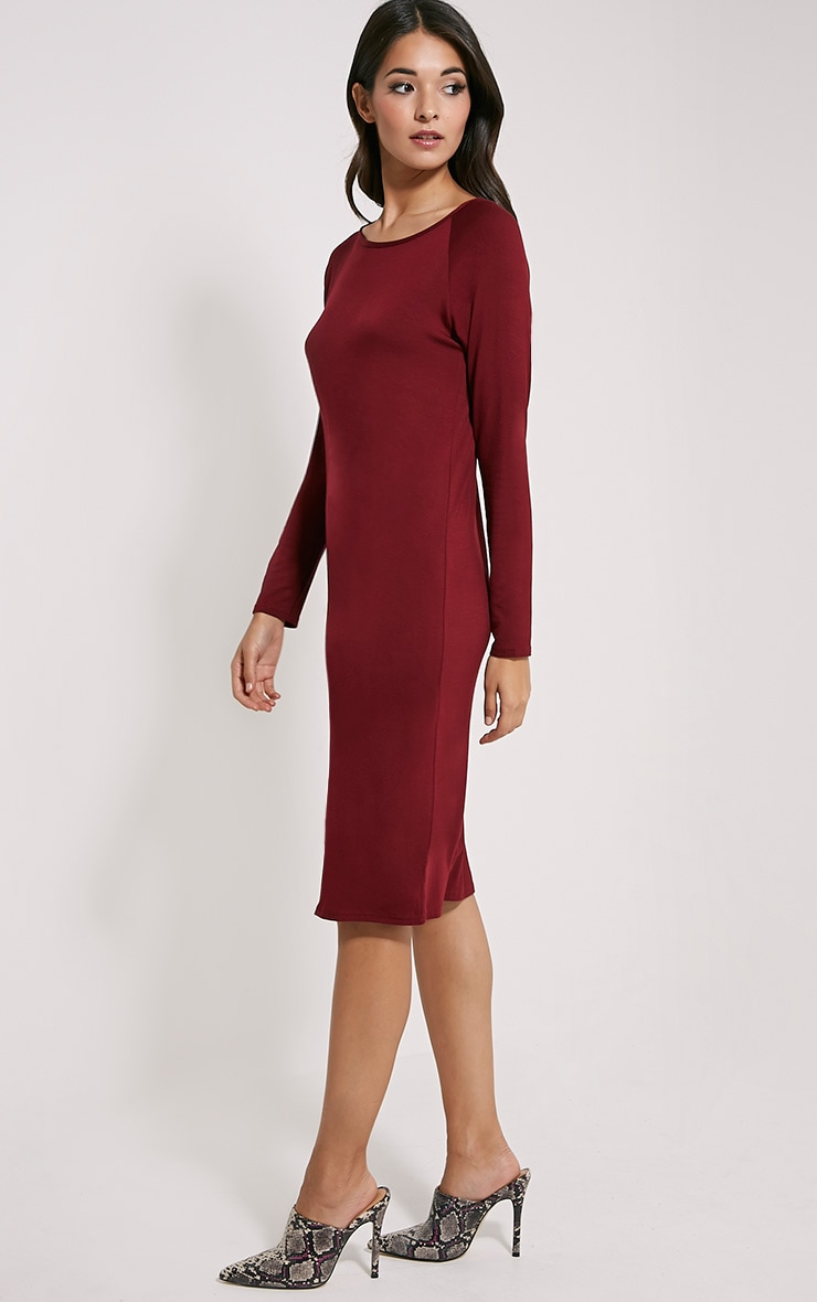 Jean Burgundy Long Sleeve Jersey Midi Dress 4