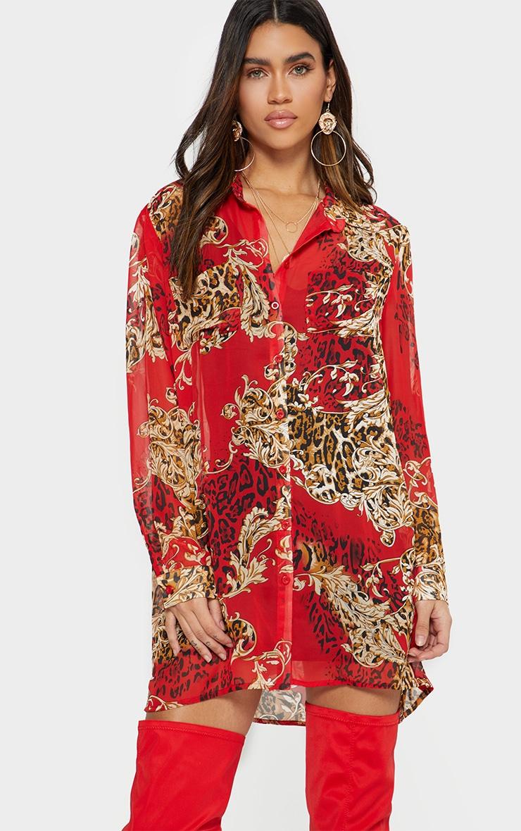 Red Baroque Print Chiffon Oversized Shirt Dress 3