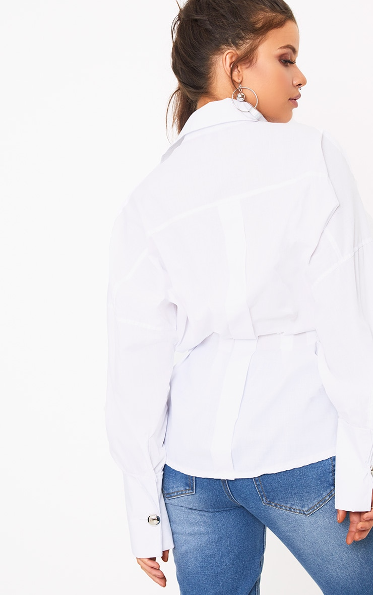 White O Clasp Belt Oversized Shirt 2