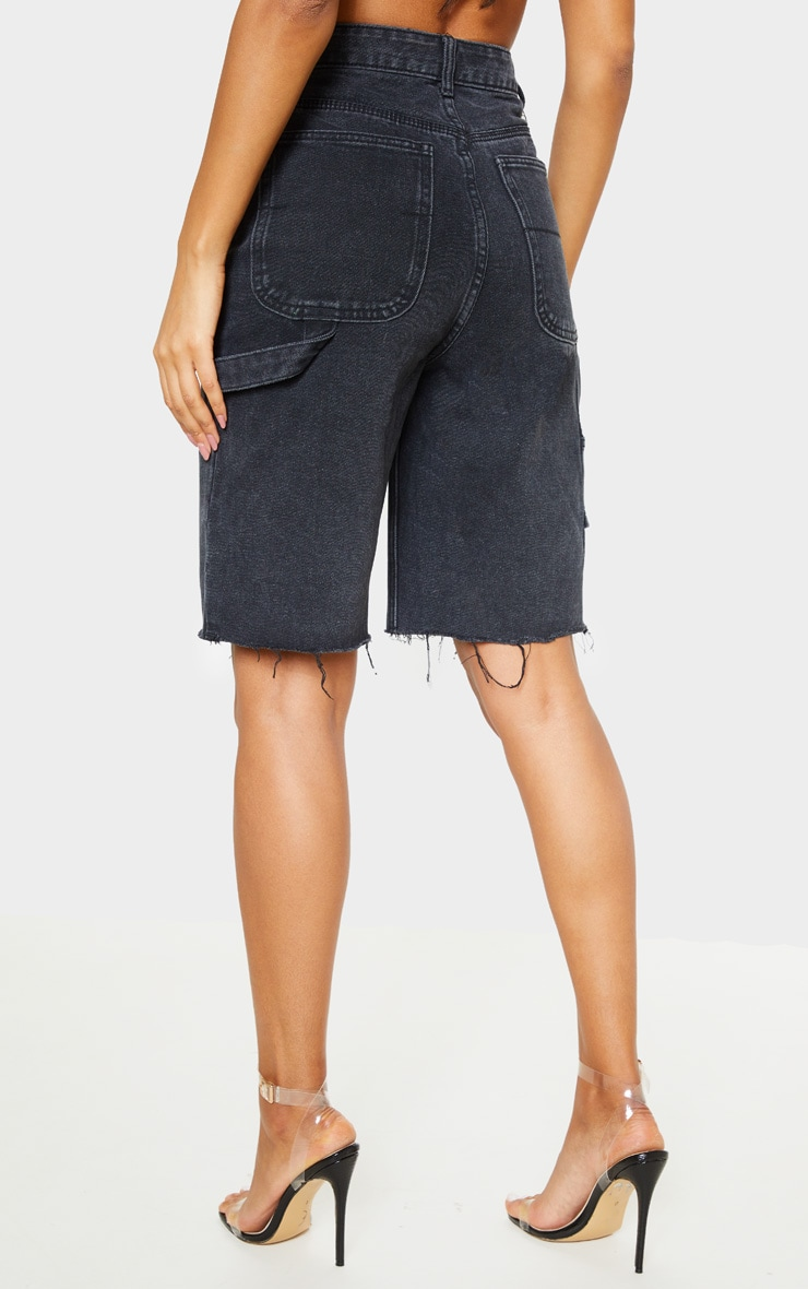 Washed Black Mom Cargo Detail Denim Shorts 4