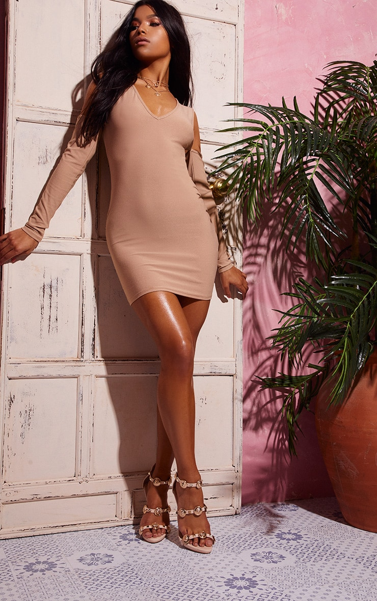 Stone Cold Shoulder Long Sleeve Plunge Bodycon Dress 4