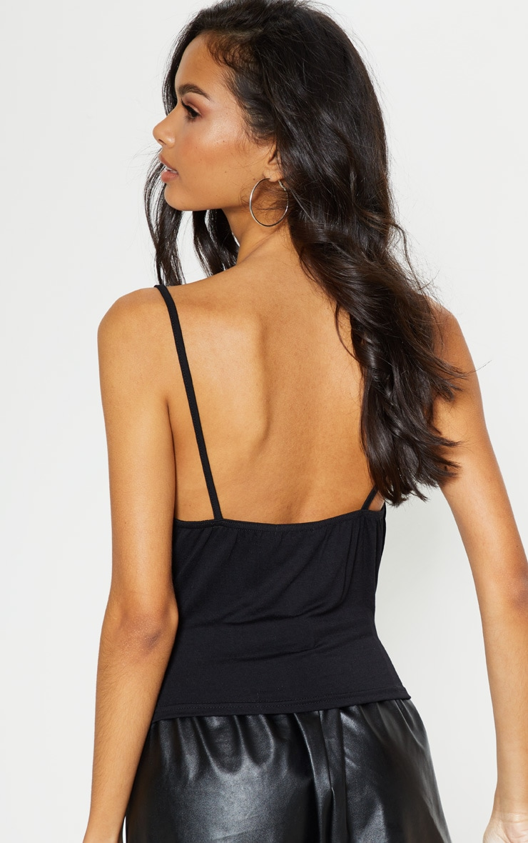Black Jersey Cowl Neck Cami Top 2