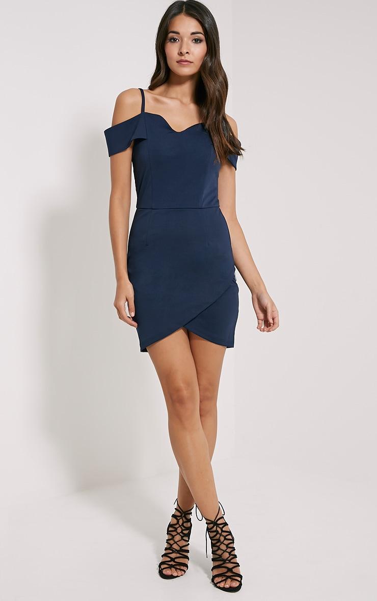 Floretta Navy Bardot Mini Dress 3