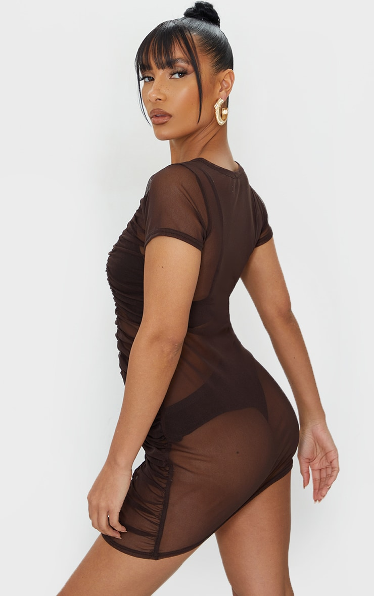 Chocolate Mesh Ruched Short Sleeve Bodycon Dress 2
