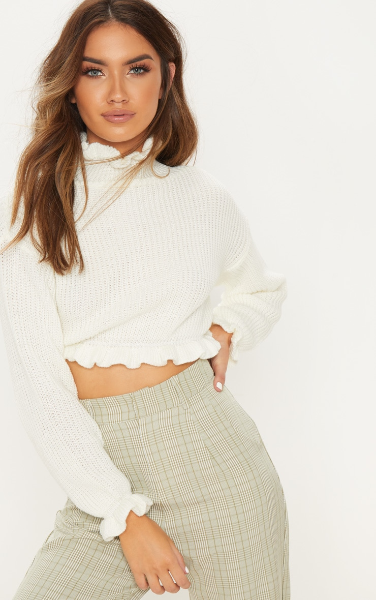 Ivory Knit High Neck Ruffle Trim Crop Jumper 1