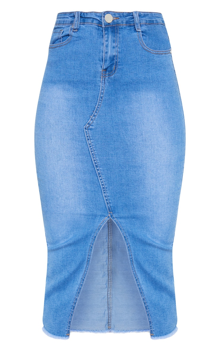 Mid Wash Denim Midi Skirt 3