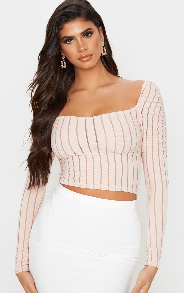 Nude Sheer Rib Ruched Shoulder Crop Top 1