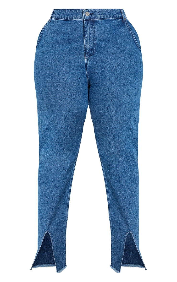 Plus Mid Blue Wash Split Hem Mom Jeans 5