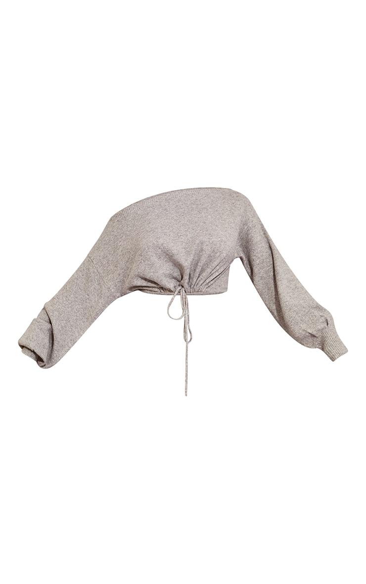 Recycled Light Grey Knitted Drawstring Hem Sweater 5