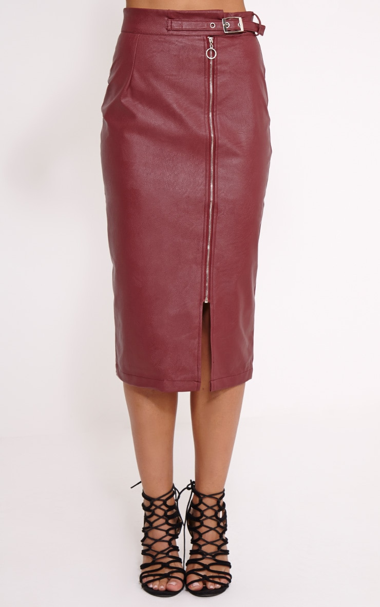 Silvia Burgundy Faux Leather Zip Front Midi Skirt 2