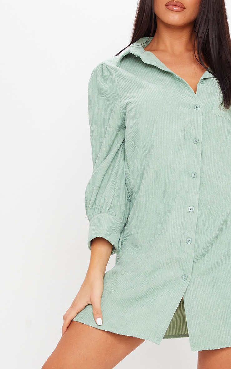 Green Cord Shirt Dress 4