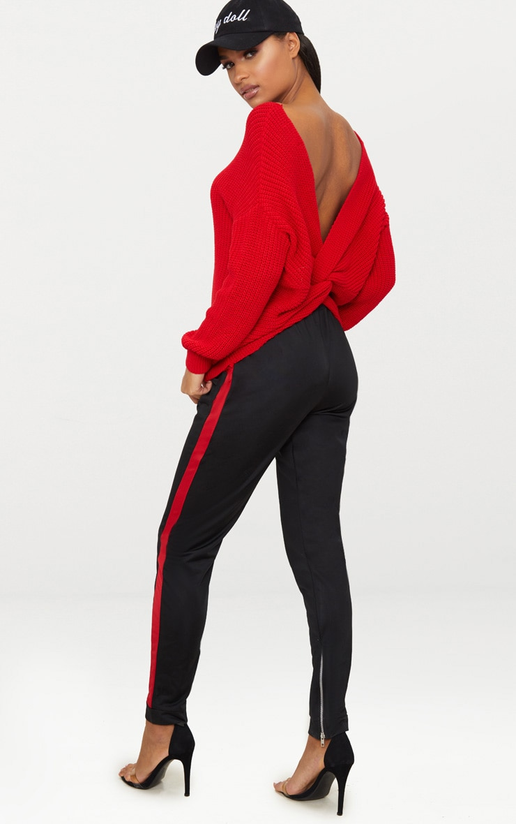 Red Twist Back Sweater 4