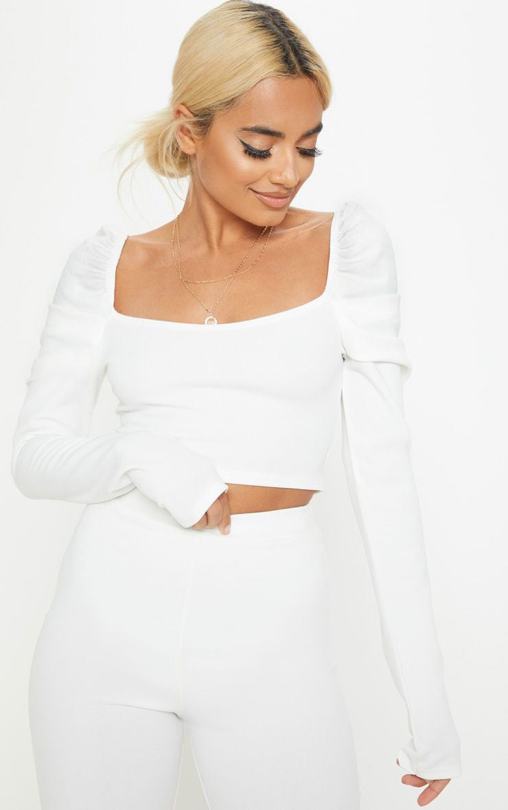 Petite White Puff Sleeve Crop Top 1