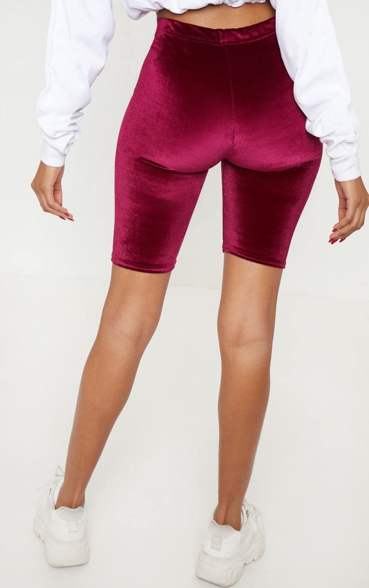Maroon Velvet Bike Short 4