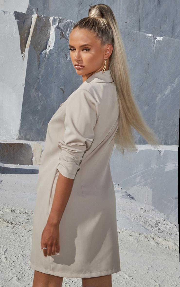 PRETTYLITTLETHING Stone Slogan Blazer Dress 2