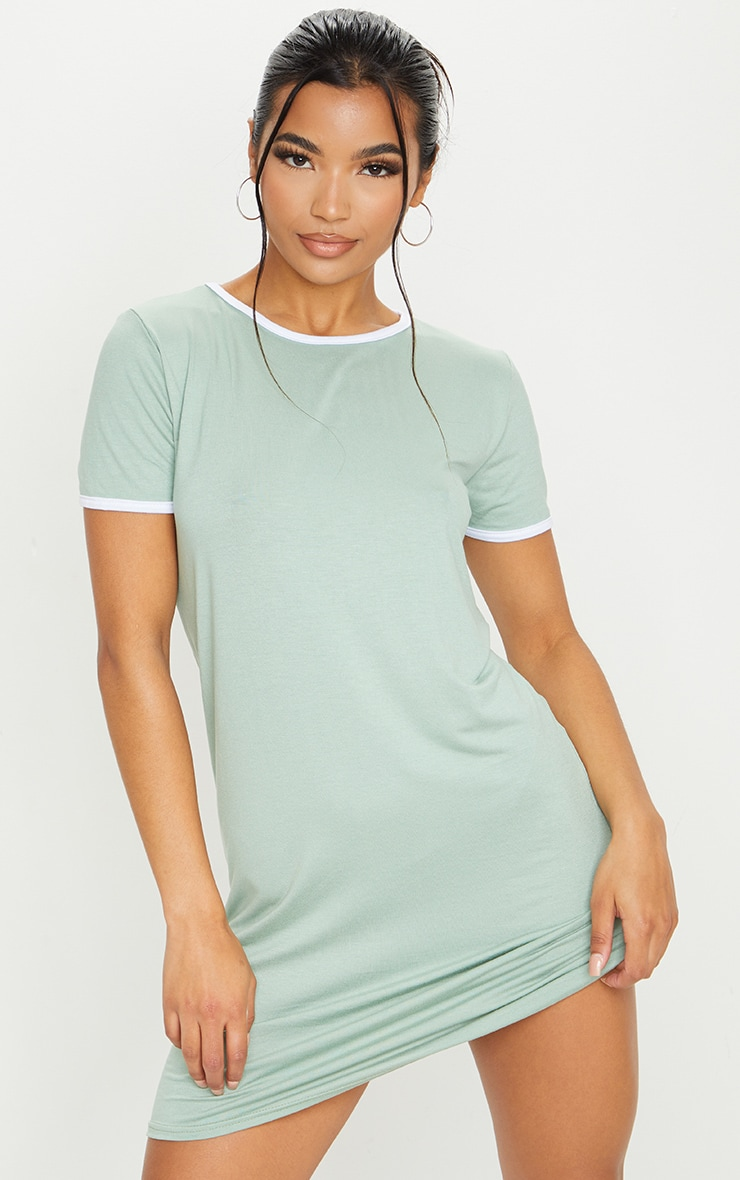 Sage Green Contrast Trim Jersey T Shirt Dress 1