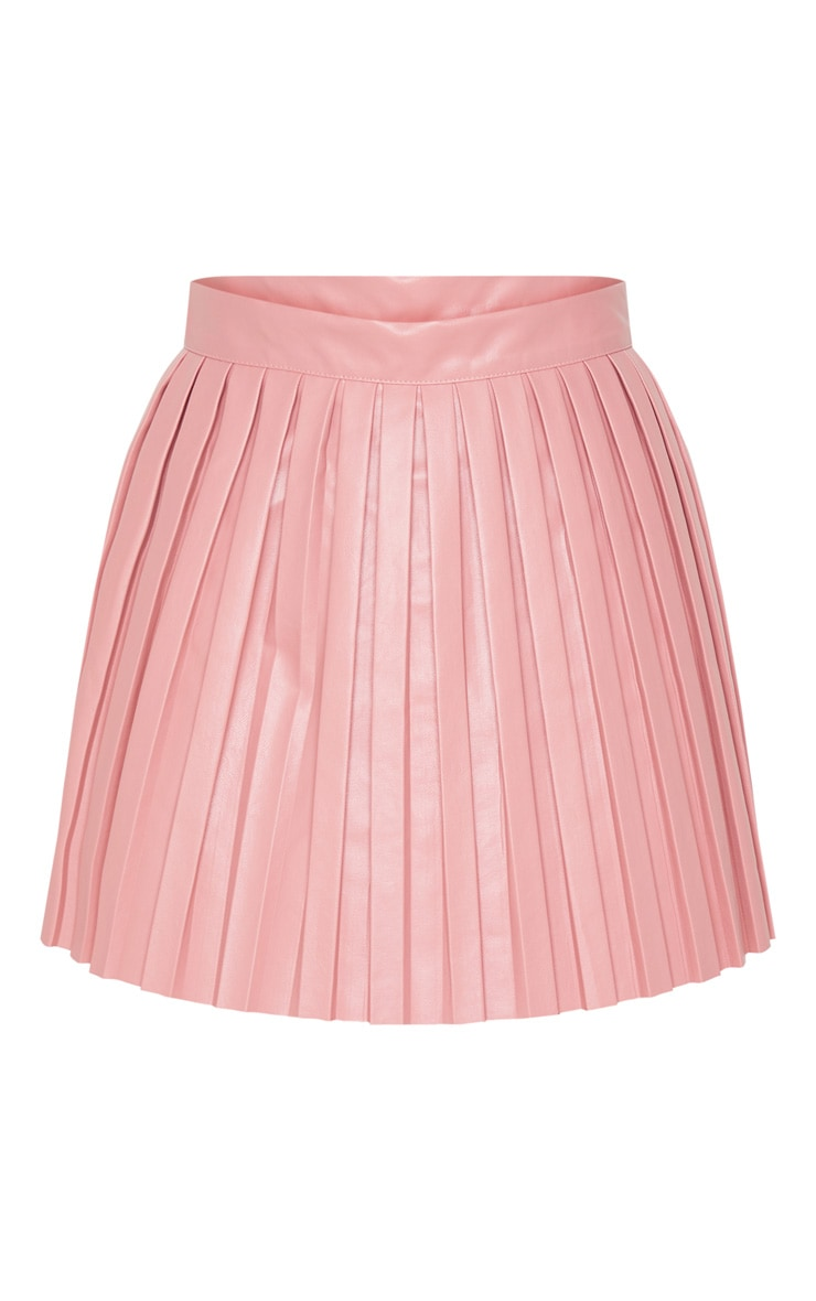 Rose Faux Leather Pleated Skater Skirt 3