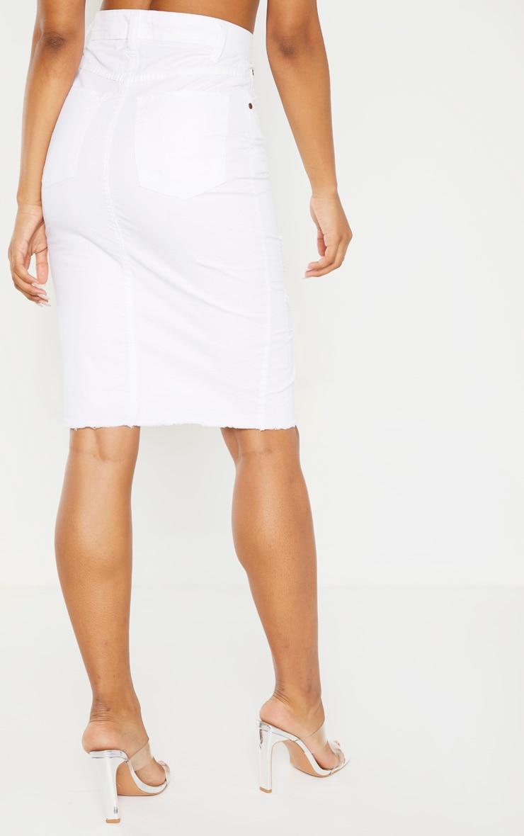 Tall - Jupe mi-longue en jean déchiré blanc 4