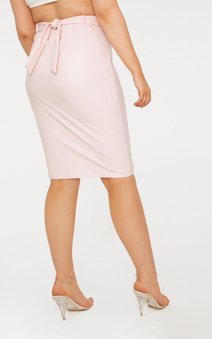 Plus Nude Belt Detail PU Midi Skirt 4