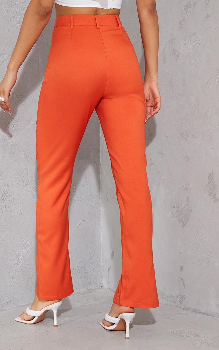 Orange High Waisted Straight Leg Split Hem Trousers 3