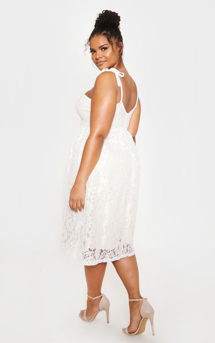 White Lace Strappy Plunge Midi Dress 3