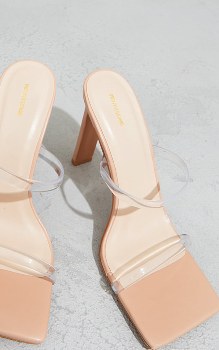 Nude Clear Twin Strap Square Toe Mule High Heels 4