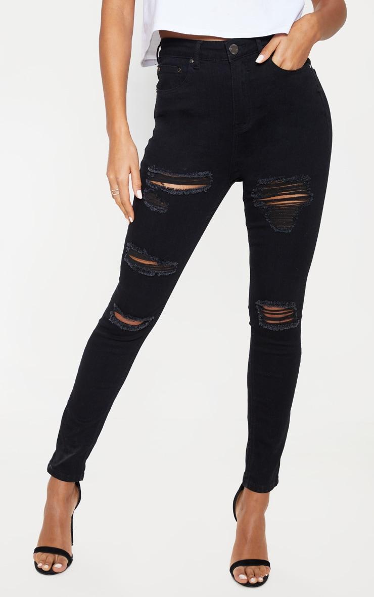 Black Distressed 5 Pocket Skinny  Jean 2