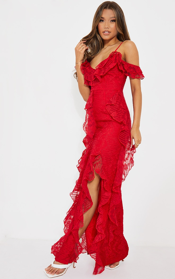 Red Lace Cold Shoulder Ruffle Maxi Dress 3