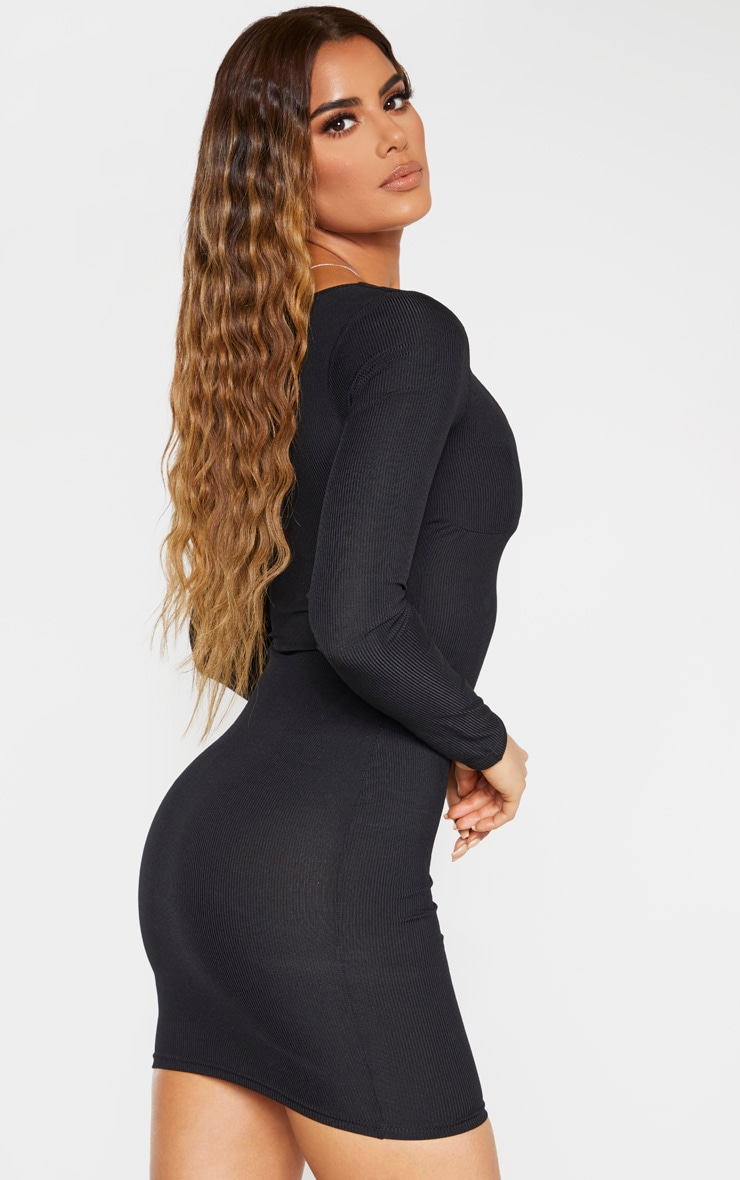 Tall Black Ribbed Cup Detail Long Sleeve Mini Dress 2