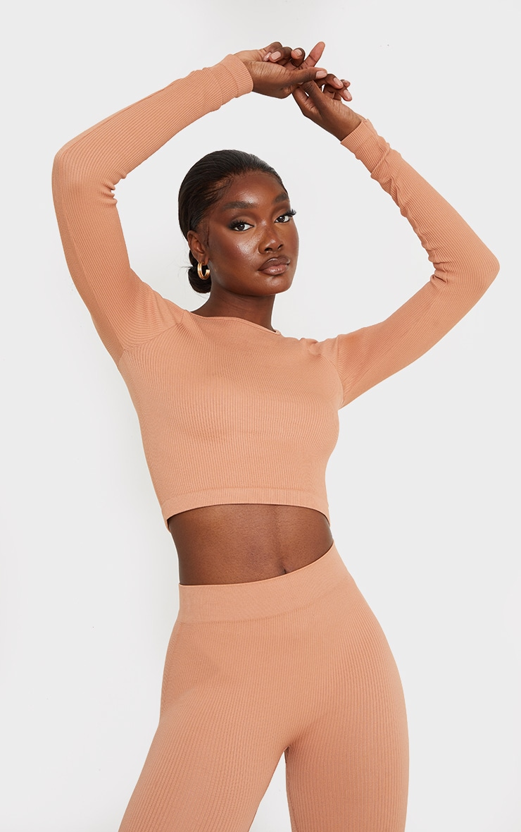 Tall Taupe Structured Contour Ribbed Round Neck Long Sleeve Crop Top 1