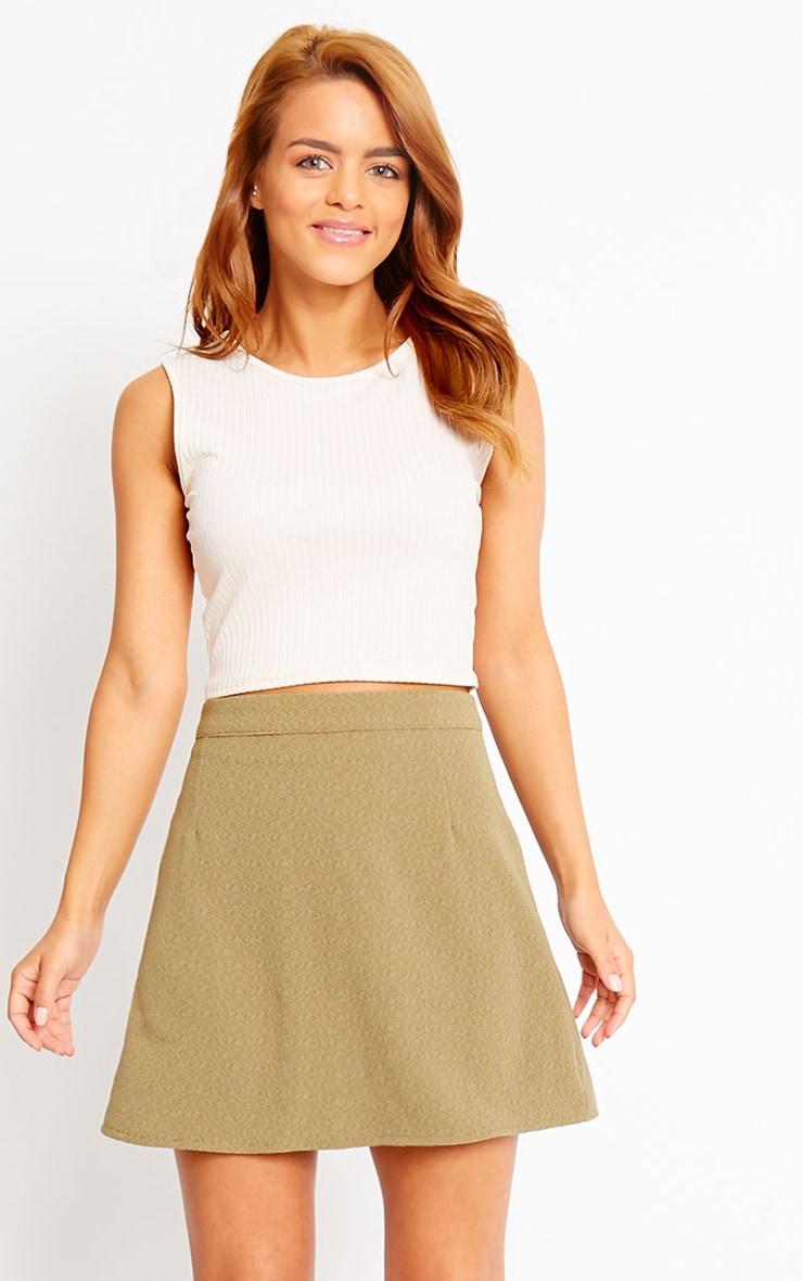 Rori Khaki Crepe A Line Mini Skirt 1