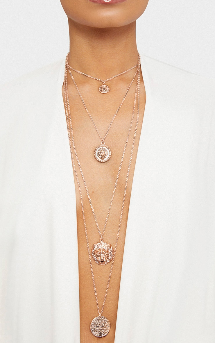 Norie Rose Gold Multi Layered Lion Necklace 1