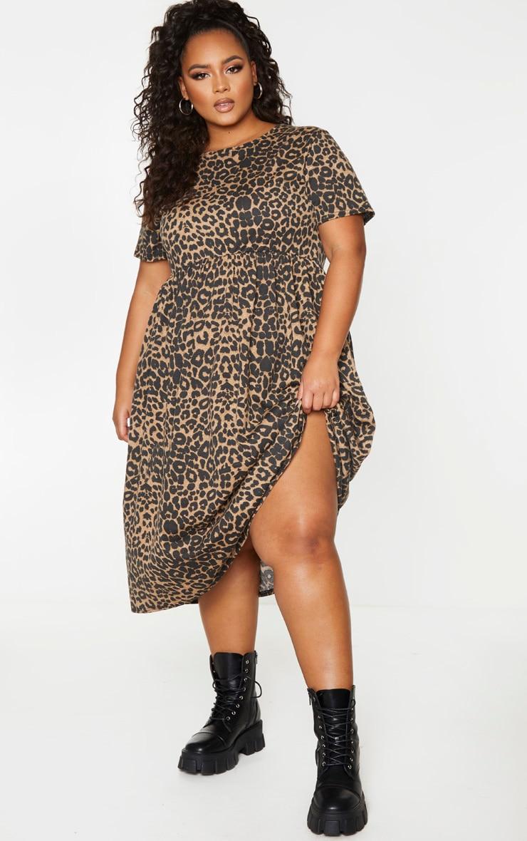 Plus Leopard Print Short Sleeve Midi Smock Dress 1