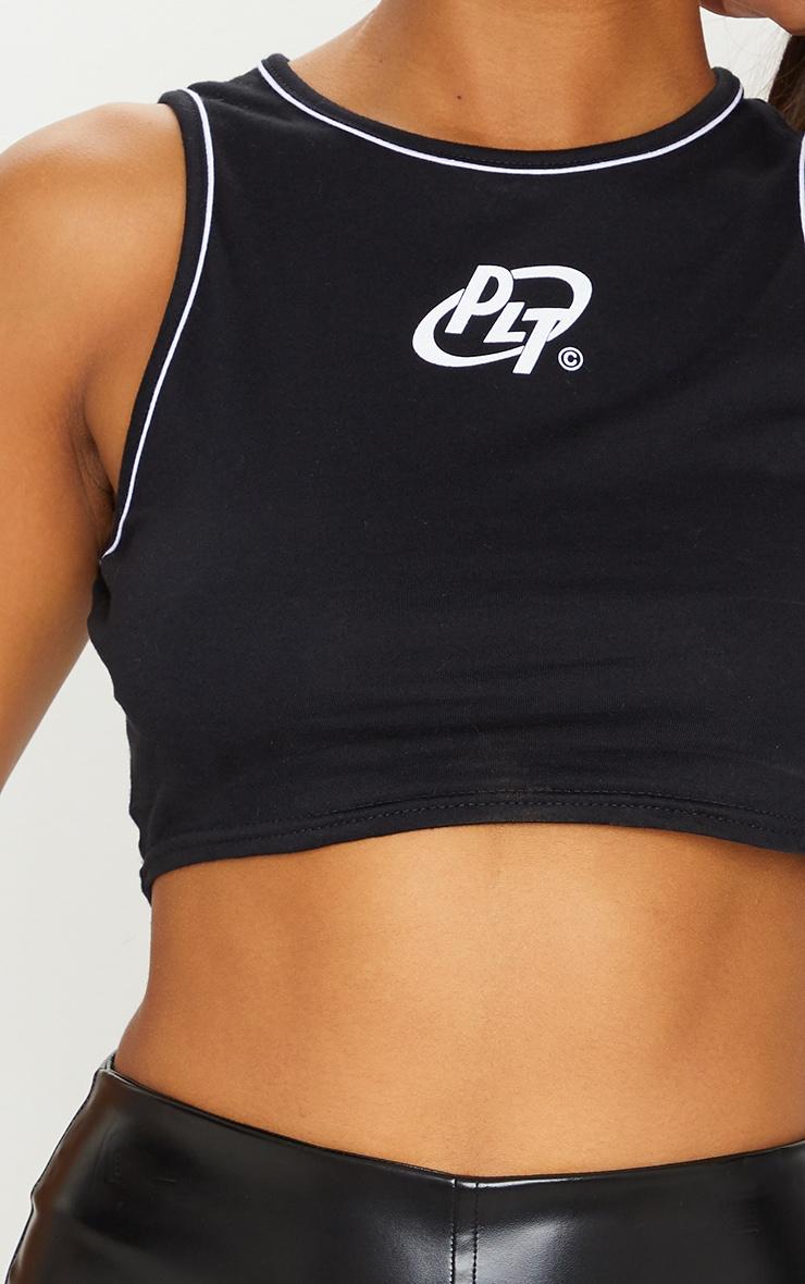 PRETTYLITTLETHING Black Jersey Logo Racer Contrast Binding Crop Top 4