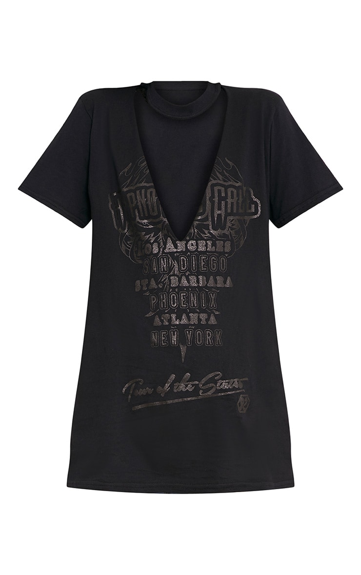 Hypnotic Slogan Black Gloss Print Plunge T Shirt 3
