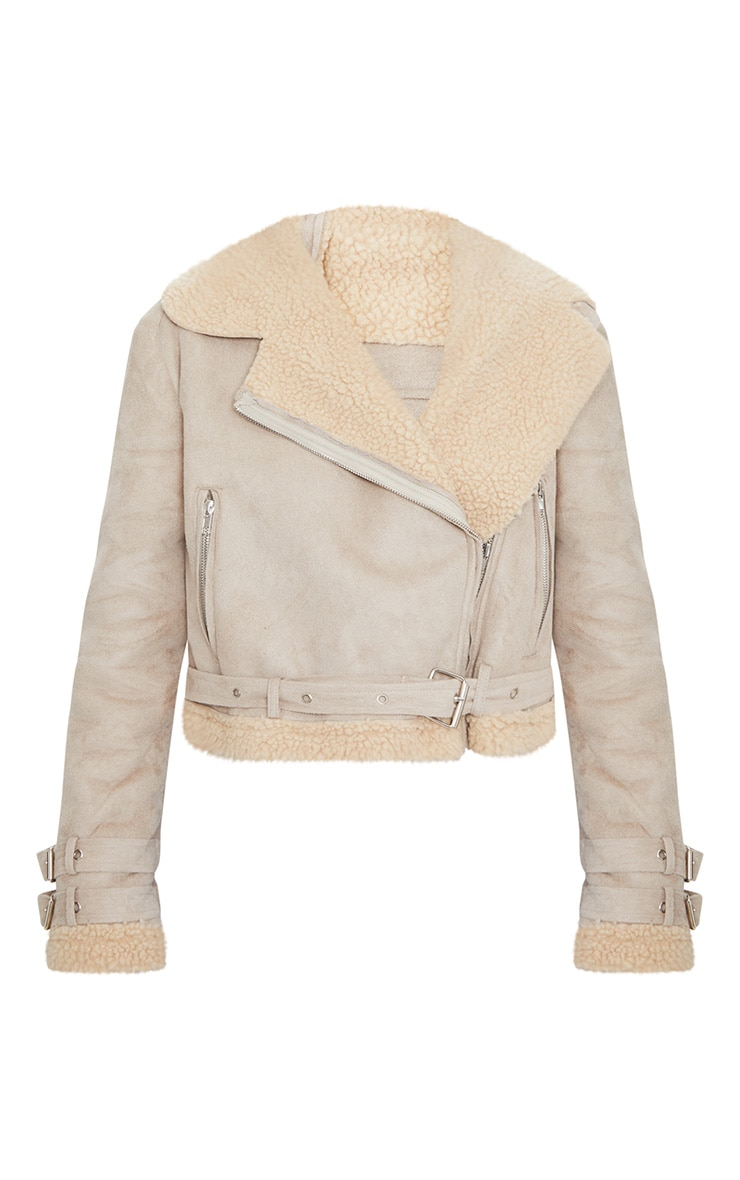 Beige Cropped  Aviator Jacket 3