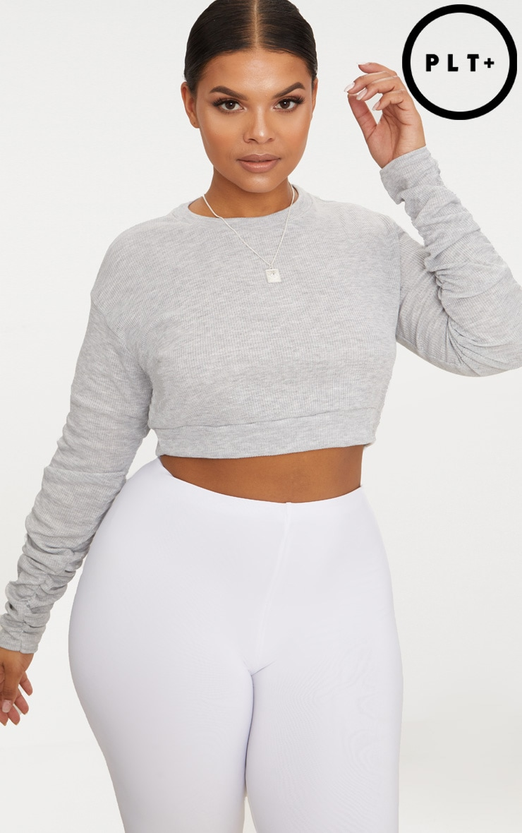 Plus Grey Marl Ribbed Ruched Sleeve Crop Top 1