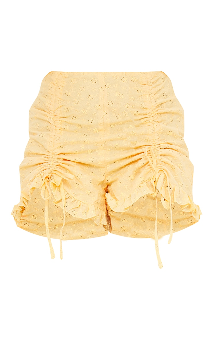 Petite Yellow Broderie Anglaise Ruched Detail Shorts 6