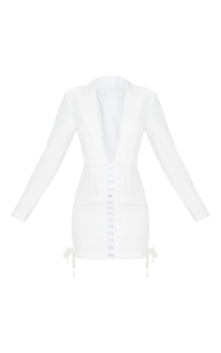 White Hook And Eye Lace Up Detail Long Sleeve Blazer Dress 3