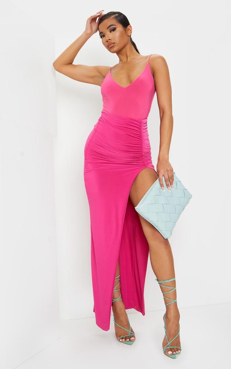 Hot Pink Slinky Spaghetti Strap Plunge Bodysuit 3