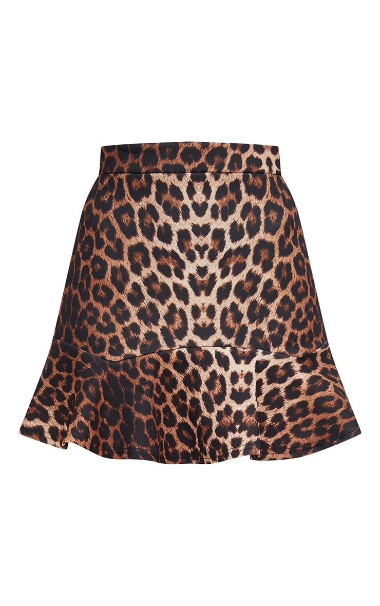 Brown Leopard Print Flippy Hem Mini Skirt  3