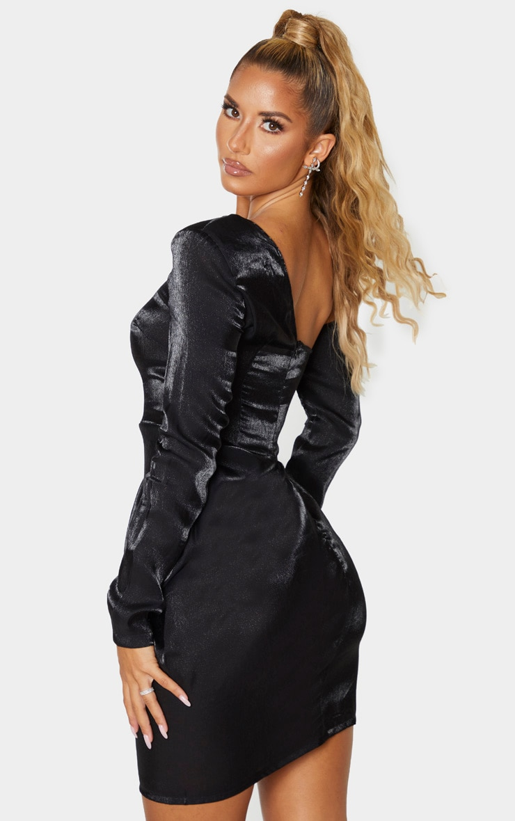 Black Metallic One Shoulder Drape Bodycon Dress 2