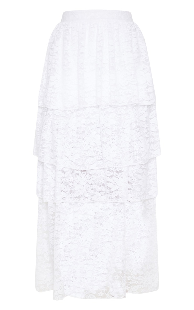 White Lace Tiered Maxi Skirt 3