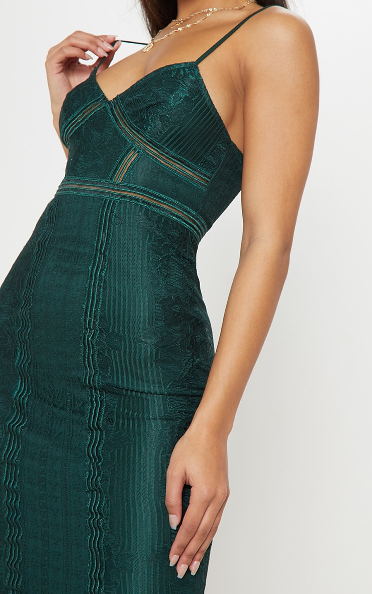 Emerald Green Lace Mesh Stripe Insert Midi Dress 5
