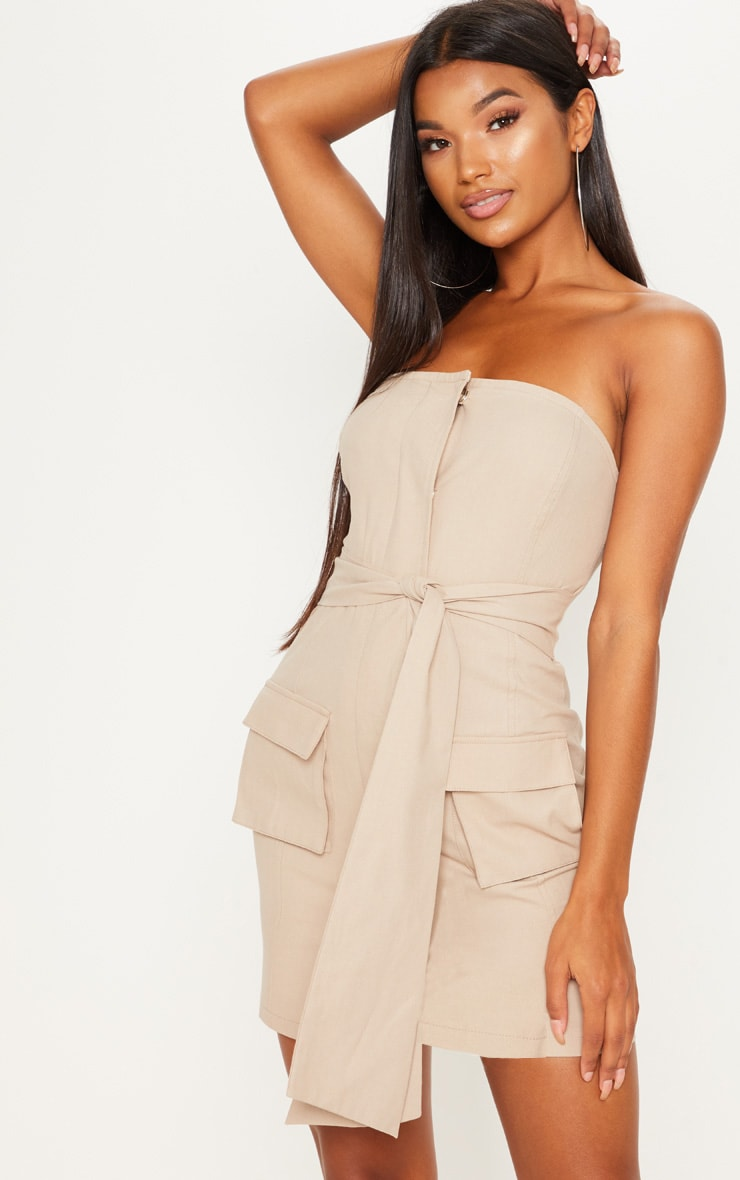 Stone Cargo Utility Bandeau Wrap Bodycon Dress
