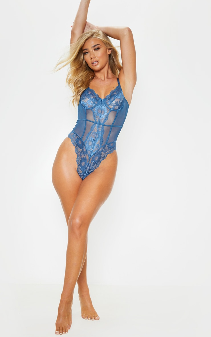 Petrol Blue Underwired Cage Detail Lace Body 5